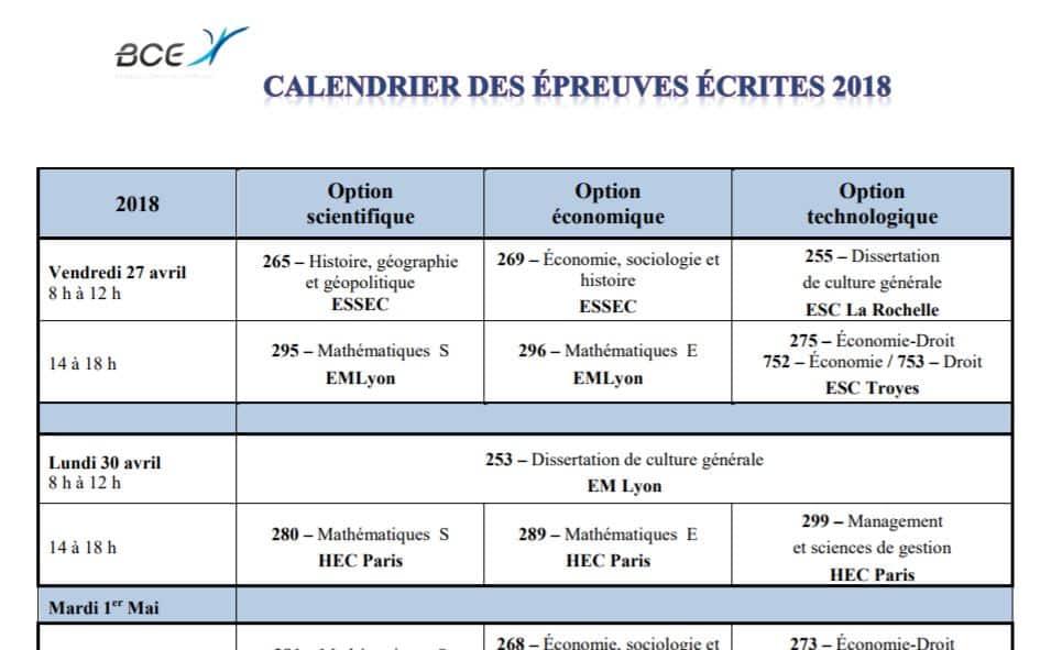 Calendrier Concours Cpge 2019.Le Calendrier Bce 2018 Est En Ligne Major Prepa